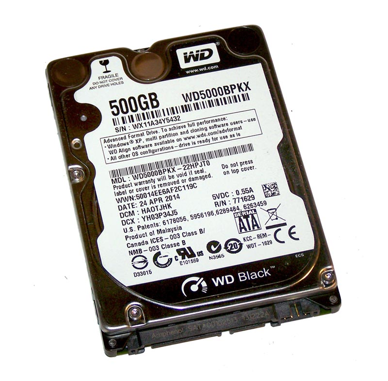 Wd5000bpkx 00hpjt0 Western Digital Black 500gb 7200rpm Sata 6gb S 16mb Cache 2 5 Inch Hard Drive